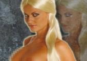 Langhaar Locken Perücke blond