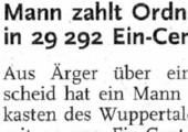 Mann zahlt Ordnungsstrafe in 29.292 Ein-Cent-Stücken