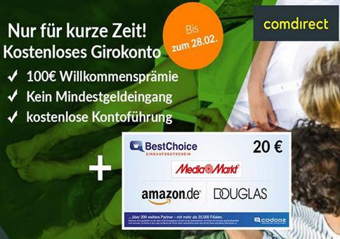 Comdirect: kostenloses Girokonto mit 100€ Prämie