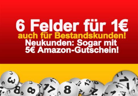 Lotto-Hammer für ALLE: 6 Felder 1€