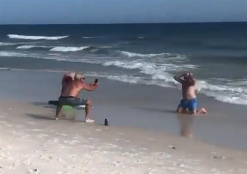 Doppeltes Fotoshooting am Strand