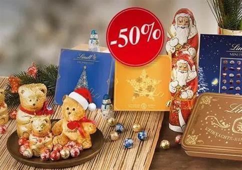 Lindt: 50% Rabatt auf Weihnachtsartikel