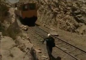 Vorsicht vor dem Schienenauto