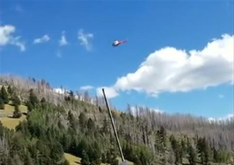 Hubschrauber mit harter Landung