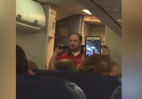 Flugbegleiteransage mit viel Hingabe