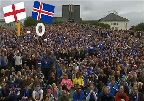 Island beim Public Viewing des EM Spiels gegen England