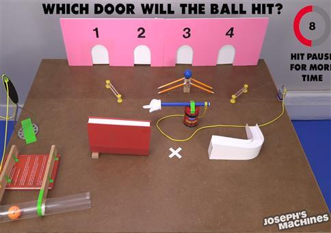 Welche Tür trifft der Ball?