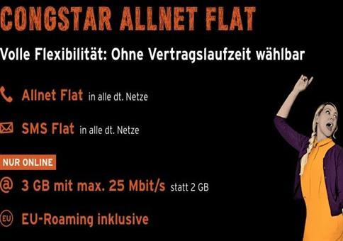 3 Monate Congstar Allnet-Flat mit 3GB komplett gratis
