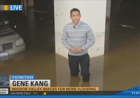 Die Reaktion eines Autobesitzers auf ein überflutetes Parkhaus