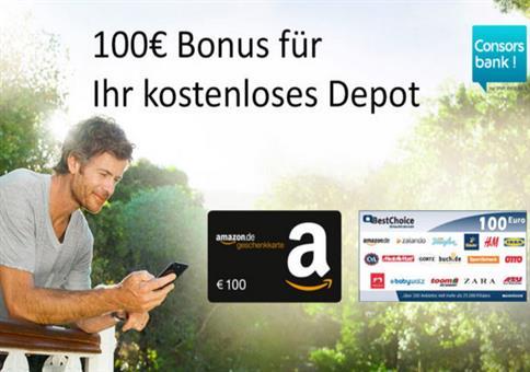 100€ geschenkt für kostenloses Consorsbank Depot!