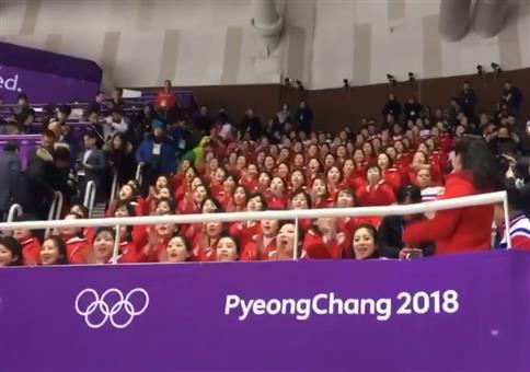 Nord-Korea Fans bei den olympischen Spielen