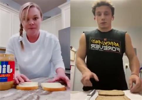 Erdnussbutter-Marmeladen Sandwich in Rekordzeit schmieren