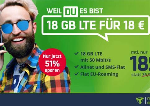 Knaller! 🔥 Vodafone Flat mit 18GB LTE für 18€ mtl.