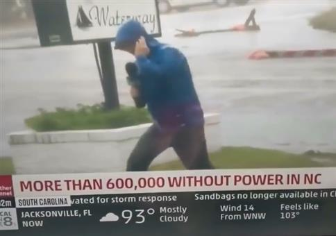 Überdramatische Schauspielkunst eines Wetterreporters