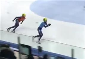 Schlechter Verlierer beim Eisschnelllaufen