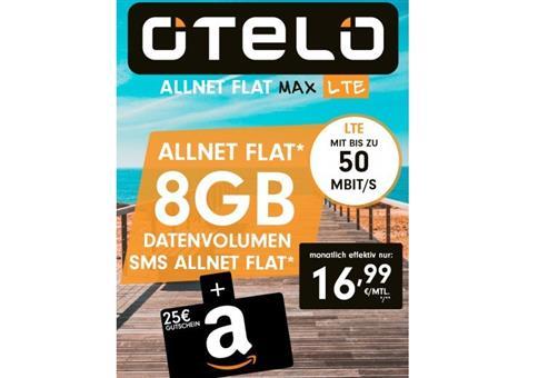 Vodafone Allnet-Flat von Otelo mit 8GB LTE für eff. 16,99€