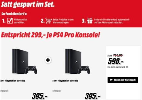 2x Sony Playstation 4 Pro 1TB ab 598€ (statt 718€)