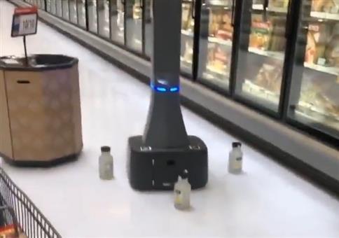 Robotermobbing im Supermarkt