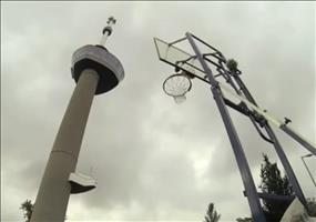 Basketballwurf aus großer Höhe