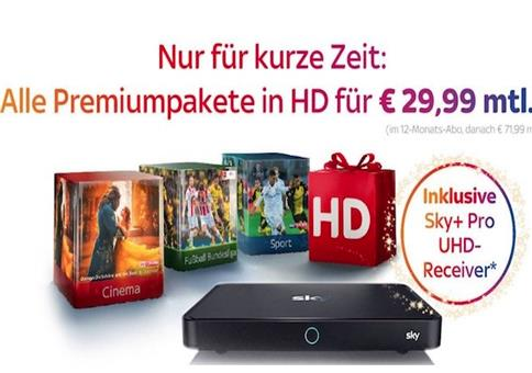TOP! Sky komplett (Starter, Buli, Sport, Cinema) nur 29,99€ mtl.