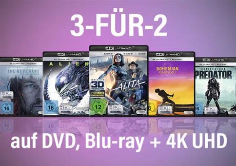 3-für-2-Aktion: DVDs, Blu-Rays & 4K UHD Blu-rays bei Amazon