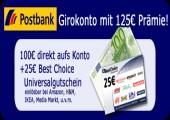 *Knaller* 100€ Startguthaben + 25€ Gutschein für Postbank