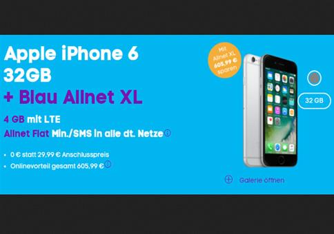 TOP: iPhone 6 + 4GB LTE für 21,99€/Monat !