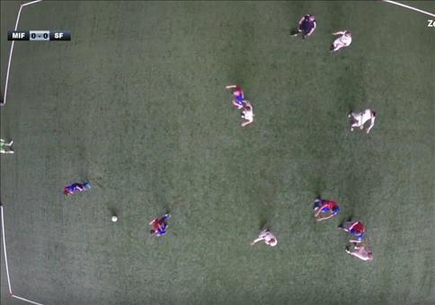 Fußballspielen aus der Vogelperspektive
