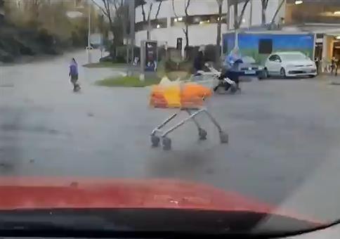 Einkaufswagen macht sich selbständig