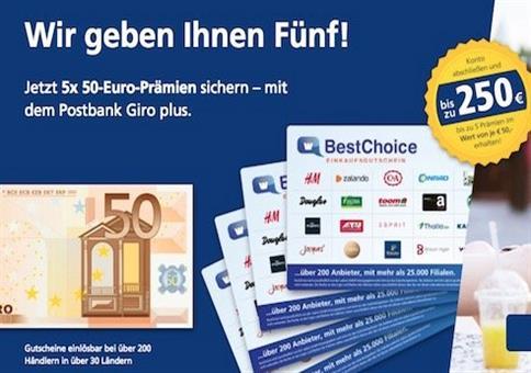 Bis zu 250€ Prämie für Postbank Girokonto