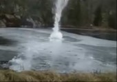 Feuerwerk unter Eis
