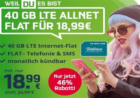 o2 Allnet-Flat 40GB LTE inkl. VoLTE & WLAN Call 18,99€ mtl.