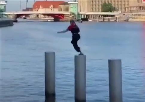 Parkour am Hafen mit tollem Abschluss