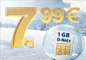 HAMMER! D1 Netz! 300 Min/SMS + 1GB Surf-Flat für 7,99€/Monat