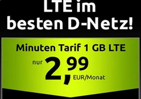 🔥 Telekom Tarif mit 100 Minuten/SMS + 1GB LTE für 2,99€ mtl.