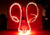 Feuershow mit Langzeitbelichtung