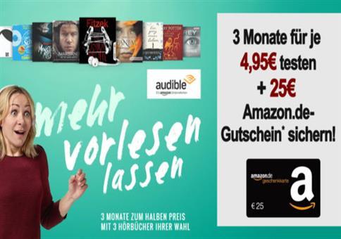 Audible für 14,85€ + 25€ Amazon-Gutschein!