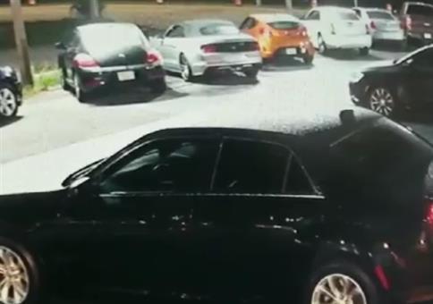 Typ klatscht auf Autodach