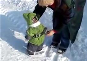 Das erste Mal im Schnee rumspringen