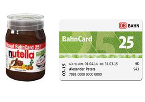 Kostenlose Bahncard mit Nutella