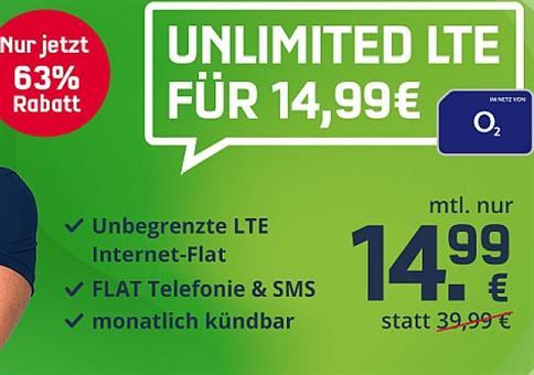 🔥 o2 Unlimited Smart mit unendlich LTE für 14,99€ mtl.