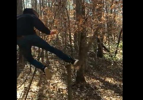 Sauberer Kick gegen den Baumstumpf