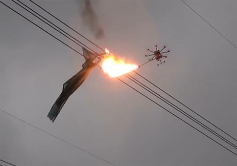 In China setzen sie Dronen mit Flammenwerfer ein