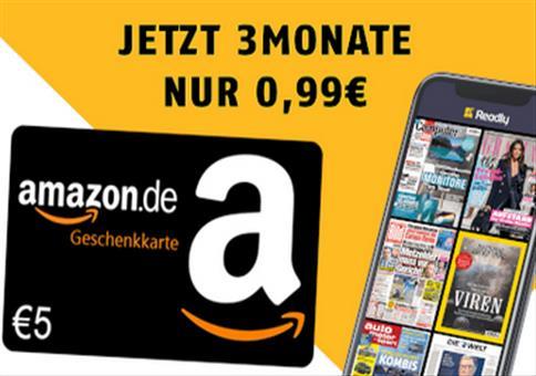 3 Monate Readly für nur 99 Cent + 5€ Amazon-Gutschein
