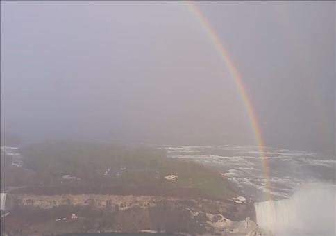 Perfekter Regenbogenkreis über den Niagara Fällen
