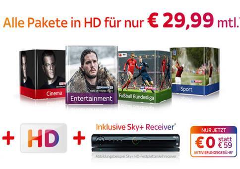 Sky Komplett + HD für 29,99€!