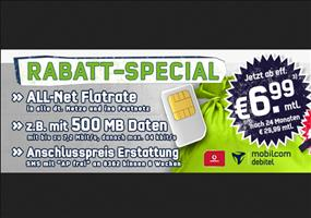 Hammer! Vodafone Allnet-Flat + Surf-Flat für 6,99€/Monat