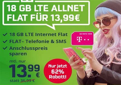 Telekom Allnet-Flat mit 18GB LTE für 13,99€ mtl.