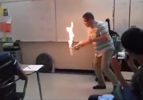 Kleines Feuerexperiment in der Schule