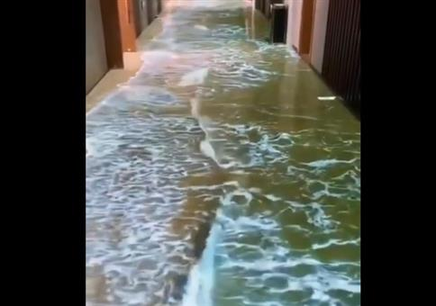 Virtuelles Meer im Hotelflur